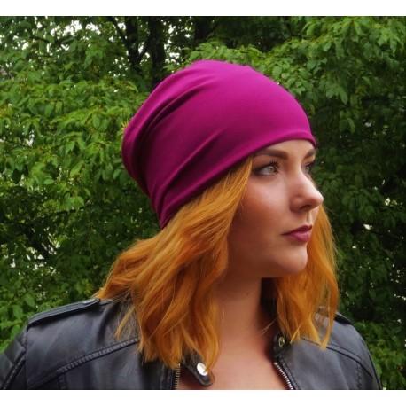 Beanie Mütze Jersey für Damen in tollem Brombeer genäht.