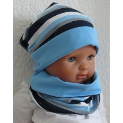 Loop Schal Jungen Maritim Ozean Blau aus Jersey genäht.