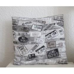 Kissen Grau Vintage Sofa Shabby Chic genäht.