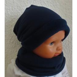 Mütze Schal Set Junge Dunkelblau Sommer Winter aus Jersey genäht.