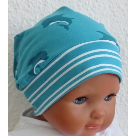 Sommermütze Baby Junge Aqua Blau aus Jersey genäht.