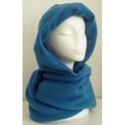Schal mit Kapuze Damen Türkis winterlich aus Fleece genäht.