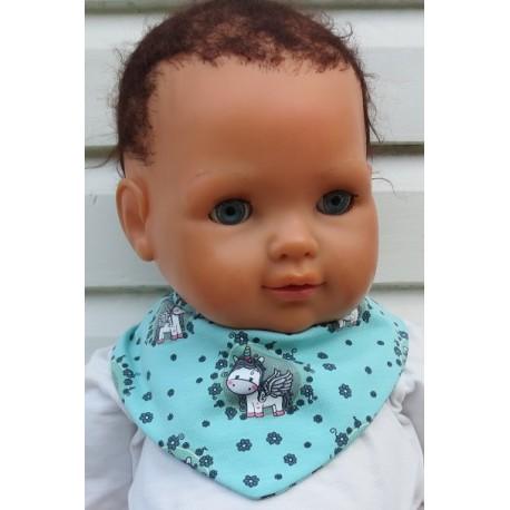 Dreieckstuch Mädchen Mint mit Motiv und geblümt zum Wenden aus Jersey genäht. Ein Sommerset, in Rosa und ein Stirnband im Shop.