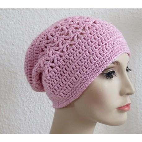 Häkelmütze Sommer Damen in Rosa aus Baumwolle gehäkelt. Dazu finden Sie zauberhafte Häkeltücher im Shop. 18 Farben