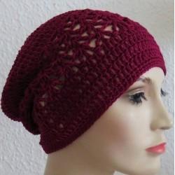 Häkelmütze Damen Sommer Beanie Brombeer aus Baumwolle gehäkelt. Herrliche Farbe. Viele Farben, KU 54 - 62 cm nach Wunsch
