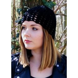Sommermütze Schwarz Damen mit Muster aus Baumwolle gehäkelt. Wunderbar für Urlaub, Sommer. Viele Farben, KU 54 - 62
