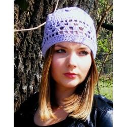 Damen Mütze Sommer Flieder aus Baumwolle Mix gehäkelt. Mit zauberhaftem Muster. 18 Farben, KU 54 - 62 cm