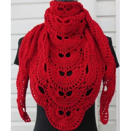 Schultertuch Damen Dreieckstuch Rot Virusmuster gehäkelt. Ein leichtes Tuch fürs ganze Jahr. 10 Farben - ca. 160 x 70