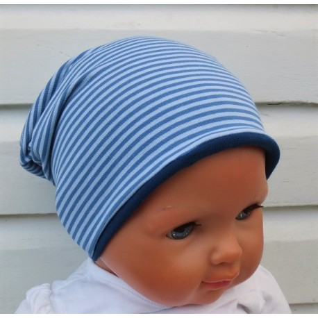Jersey Beanie Kinder für Jungen mit Ringel zum Wenden genäht. Viele weitere Modelle finden Sie im Shop.
