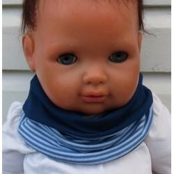 Kinder Schal Junge aus Jersey mit Ringel zum Wenden genäht. Viele weitere Modelle finden Sie im Shop. KU 39-55