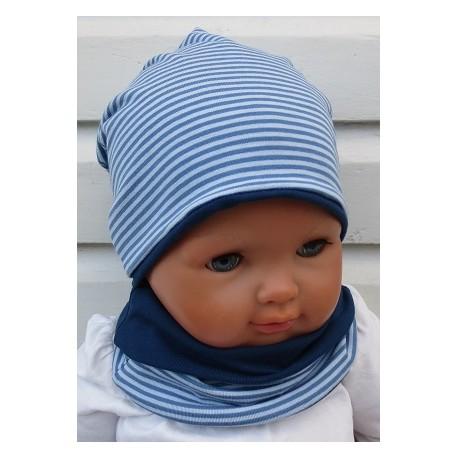 Beanie Mütze Kinder Schal Set für Jungen mit Streifen aus Jersey zum Wenden genäht. Wunderbar fürs ganze Jahr. KU 39-55