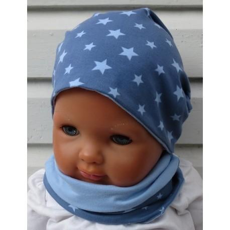 Beanie Mütze Junge Schal Set aus Jersey zum Wenden mit Sternen genäht. Weitere Modelle im Shop. Variante, KU 39 - 55