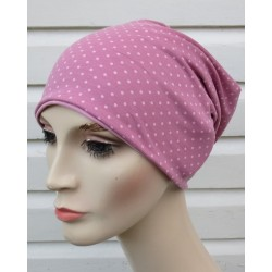Beanie Mütze Damen Jersey Sommer Rosa Punkte zum Wenden genäht. Einfach zauberhaft. KU 54-62 cm
