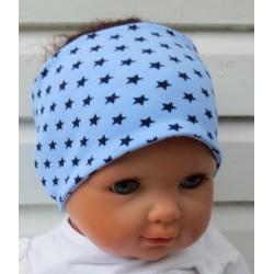 Stirnband Junge Baby Sommer Blau mit Sternen zum Wenden aus Jersey genäht. KU 36-55 cm