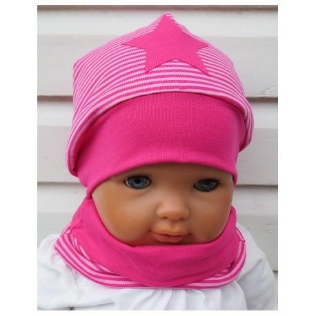 Mütze Schal Set Mädchen Pink Stern aus Jersey mit Beanie und Halssocke genäht. Zum Wenden. KU 39-55