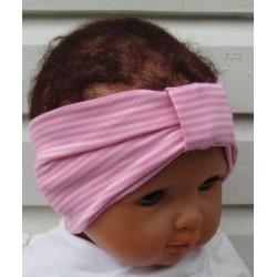 Haarband Kinder Mädchen Rosa geringelt mit Mittelteil aus Jersey genäht. So süss. KU 36-55