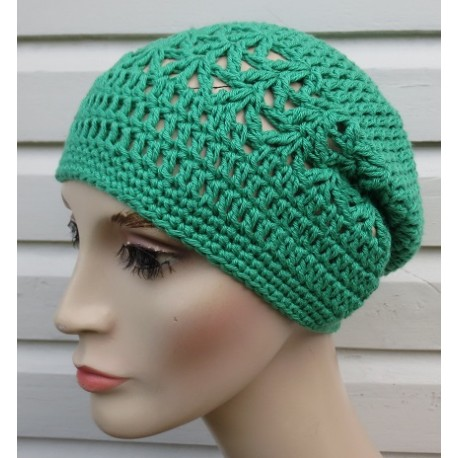Beanie Sommer Damen Grün aus Baumwolle schön luftig gehäkelt. Leichte Mütze mit Muster. Farb, KU 54-62 cm nach Wunsch