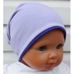 Wintermütze Kinder Mädchen Flieder Lila als Beanie aus Jersey genäht. Süss als Slouch. Farben, KU 39-55 cm