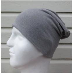 Slouch Beanie Mütze Männer in Grau meliert aus Jersey zum Wenden genäht. Viele Farben, KU 54-65 cm