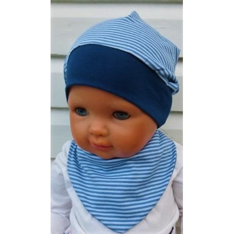Beanie Mütze Junge Dreieckstuch Set in Blau mit Ringel aus Jersey genäht. Einfach schön. KU 39-55 cm