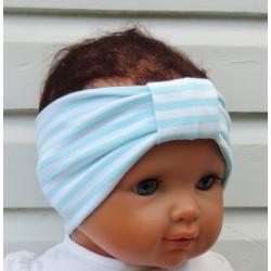 Haarband Kinder Mädchen Sommer Weiß mit Streifen Mint aus Jersey genäht. KU 36-55 cm