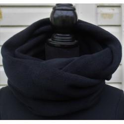 Schlauchschal Damen Schwarz aus Fleece als Loop genäht. Zum Knoten oder als Schlauch. 25 cm x 130/140 cm