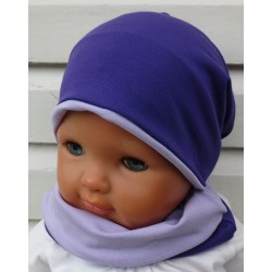 Beanie Mütze Schal Mädchen Set Flieder Lila aus Jersey zum Wenden genäht. Farbe, Variante, KU 39-55
