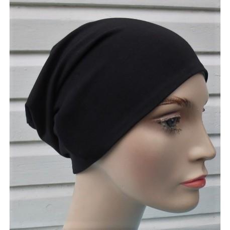 Beanie Mütze Damen Schwarz Long Slouch aus Jersey zum Wenden genäht. Viele Farben, KU 54-62 cm