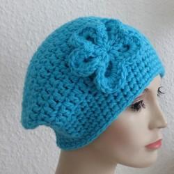 Winterset Damen Türkis mit Schal und Beanie aus Wolle gehäkelt. Einfach toll. Viele Farben, KU 54-62 cm