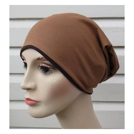 Beanie Mütze für Damen Braun Long Slouch aus Jersey zum Wenden genäht. Farbe, KU 54-62 nach Wunsch
