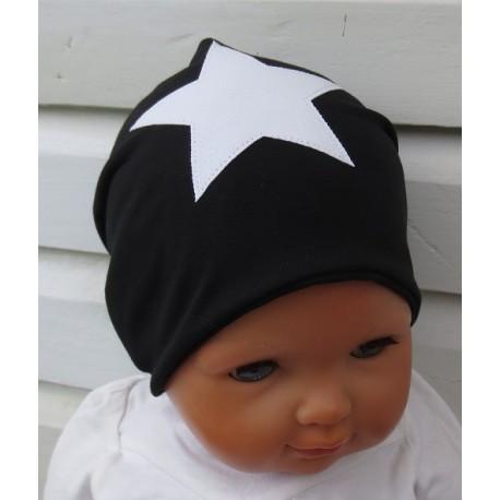 Beanie Mütze Stern Junge Schwarz Weiß zum Wenden genäht. Aus Jersey. Variante, KU 39-55 cm