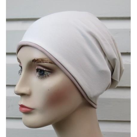 Winter Beanie Damen Beige Creme Long Slouch aus Jersey zum Wenden genäht. Farben, Variante, KU 54-62 cm