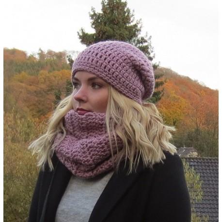 Winterset Damen Long Beanie Mütze Schlauchschal Altrosa aus Wolle gehäkelt. KU 54-62 cm nach Wunsch