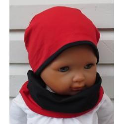 Beanie Mütze Mädchen Set in Rot Schwarz aus Jersey genäht. Tolle Farbkombi. Farben, KU 39-55 cm nach Wunsch