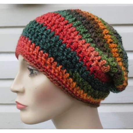 Beanie Mütze Bunt gemustert Damen Winter aus Wolle gehäkelt. Einfach schön. Farbe, KU 54-62 nach Wunsch