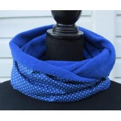 Damen Schal Blau Winter aus Fleece Baumwolle Punkte als Loop genäht. Zum Knoten oder als Schlauch