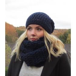 Mütze Schal Set Herren Dunkelblau aus Wolle gehäkelt. Warm für den Winter. Farbe, KU 54-65 cm nach Wunsch