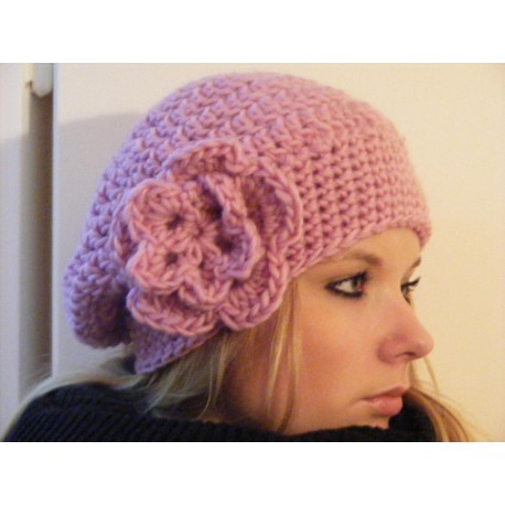 Beanie Mütze Damen traumschön in Rosa aus Wolle gehäkelt. Farbe, KU 54-62 cm nach Wunsch