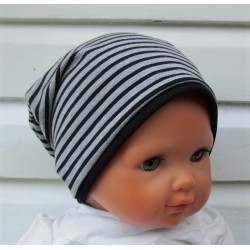 Jersey Beanie Kinder Jungen Grau meliert Schwarz mit Streifen zum Wenden genäht. Richtig cool. KU 39-55 cm