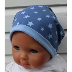 Beanie Mütze Kinder Junge Blau mit Sternen genäht. Auch als Set im Shop. KU 39 - 55 cm, Variante nach Wunsch