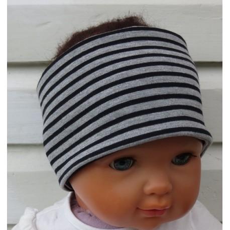 Stirnband Kinder Jungen Jersey Grau meliert mit Streifen Schwarz zum Wenden genäht. KU 36-55 cm