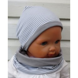Winterset Kinder Jungen Long Beanie Schal Streifen Ringel Grau aus Jersey genäht. Cool für Jungs. Farbe, KU 39-55