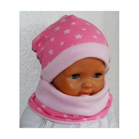 Mütze Schal Set Kinder Fleece Mädchen Sterne mit Long Beanie aus Jersey genäht. Farbe, KU 39-55 nach Wunsch