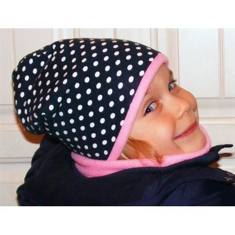 Mütze Schal Set Kinder Punkte Dunkelblau aus Jersey Fleece genäht. Toll für Mädchen. Farbe, KU 39-55 nach Wunsch