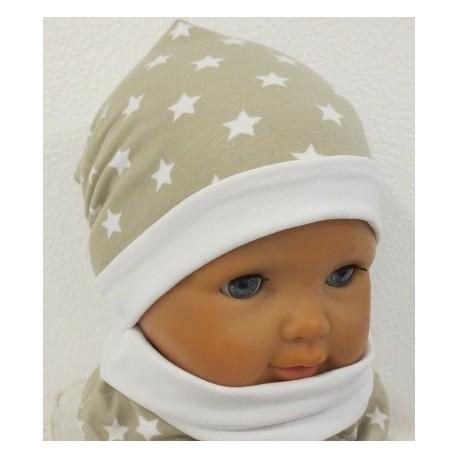 Mütze Schal Set Kinder Mädchen Beige Weiß mit Sternen aus Jersey genäht. Farbe, KU 39-55 nach Wunsch