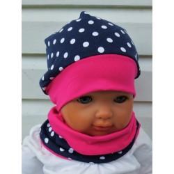 Mütze Schal Set Baby Kinder Pink Dunkelblau aus Jersey genäht. Mit Beanie fürs ganze Jahr. KU 39-55