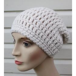 Damen Wintermütze Strick Long Beanie Creme aus Wolle gehäkelt. Kuschelig warm. Farbe, KU 54-62 nach Wunsch