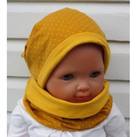 Long Beanie Mütze Kinder Mädchen Set mit Schlupfschal Senf gepunktet aus Jersey genäht. Variante, KU 39-55 cm nach Wunsch