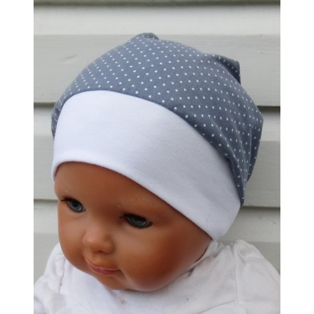 Beanie Mütze Kinder Sommer Mädchen Grau Punkte Weiß aus Jersey genäht. Farbe, KU 39-55 cm nach Wunsch