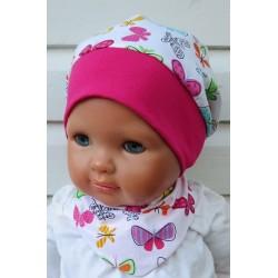 Sommermütze Kinder Mädchen leicht und luftig mit Schmetterlingen genäht. So süss aus Baumwolle. KU 39-55 cm